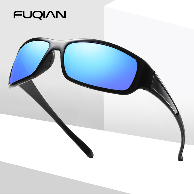 FUQIAN Brand Popular Sports Men Sunglasses Vintage Square Plastic Polarized Sun Glasses Mirror Coating Eyewear Goggle