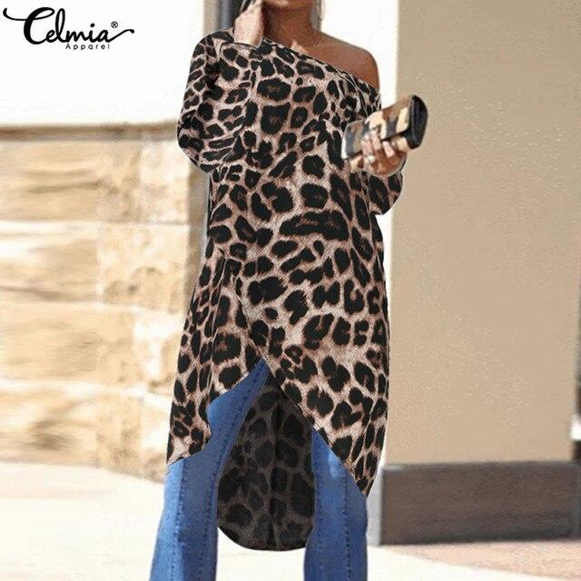 Celmia 2020 femmes Blouses à manches longues élégant Sexy épaules nues imprimé léopard Blusas chemise décontracté asymétrique longue hauts grande taille