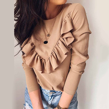New Womens Long Sleeve Ruffle T Shirt Ladies Autumn Casual Crew Neck Jumper T Shirt Woman Casual Daily Solid Tee Tops 3 Color crew neck inverted triangle color block panel t shirt