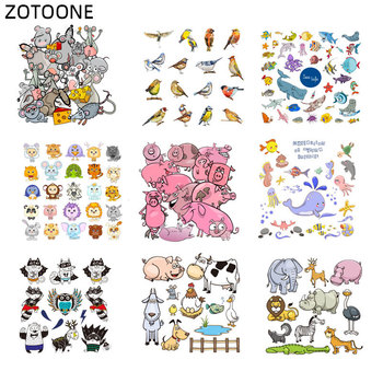 ZOTOONE Animal Set Patch Iron on Patches for Clothing Bird Mouse Elephant Sticker for Kids Heat Transfers DIY Vinyl Appliques G zotoone printed drink beer heat transfers vinyl ironing clothes stickers iron on patches for clothing diy cocktail appliques e