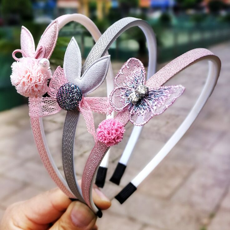 FANYING003 1pcs Kids Cute Cartoon Hairbands New Child Girls Lace Butterfly Headband Hair Accessories Headwear