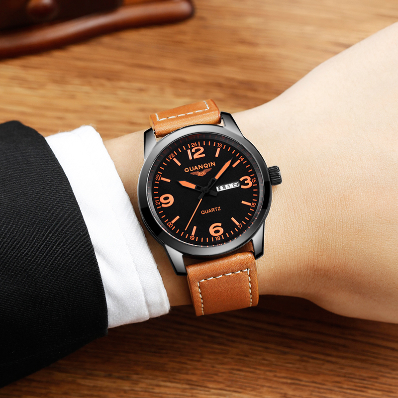 GUANQIN GS19036 New Arrival Male Watches Luxury Top Brand Men's Army Military Watch Luminous Leather Sport Quartz Wrist Watches - 4