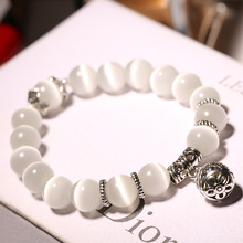 Natural Crystal Cat Eye Beaded Bracelet Single Circle Transfer Ball Retro Womens Jewelry Accessories