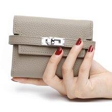 2020 nouveau femmes pliant en cuir véritable portefeuille dames serrure attraper court sac à main embrayages porte carte sac à main