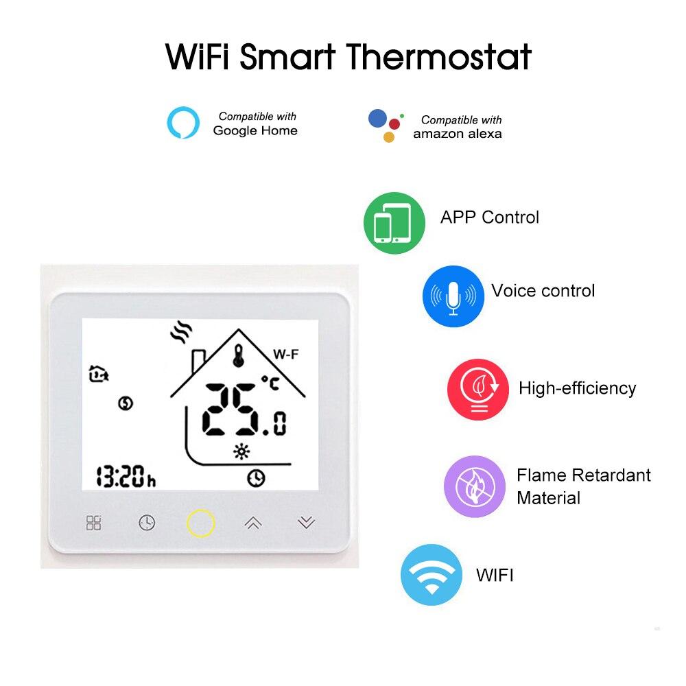 agua caliente con APP Termostato LX-MC6 para calefacci/ón por suelo radiante WiFi en color blanco e Alexa Google Home Smart Home Luxus-Time