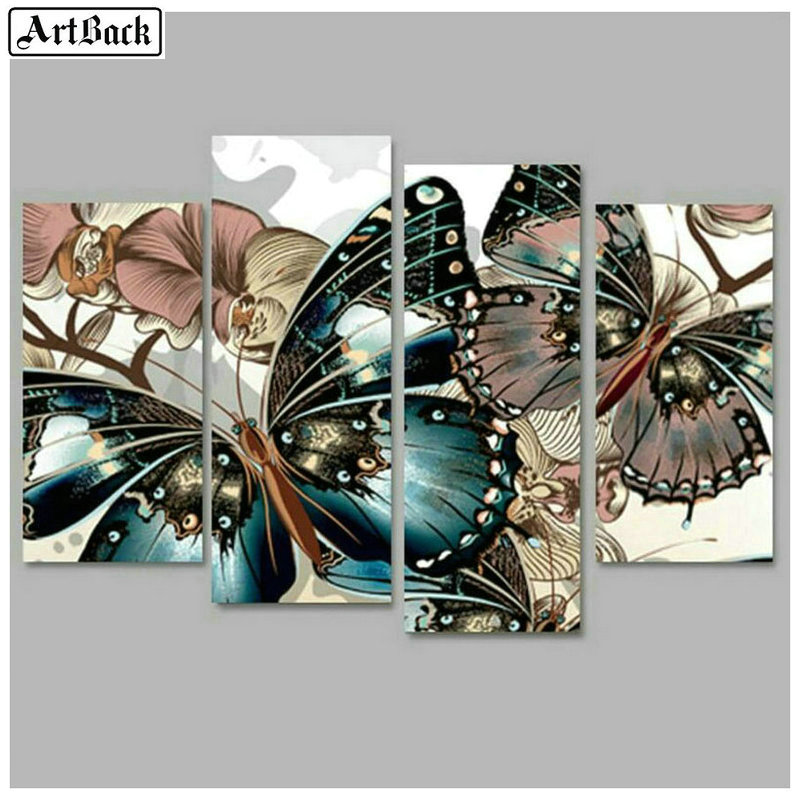New diy 5d diamond painting butterfly sticker diamond mosaic full square drill landscape 3d sticker home decoration