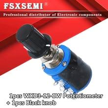 1pcs WXD3-12-1W + 1pcs botão 100 220 470 K 2K2 1 3K3 4K7 47 33 22 10K K K K Ohm 2.2K 3.3K 4.7K WXD3-12 1W Wirewound Potenciômetro