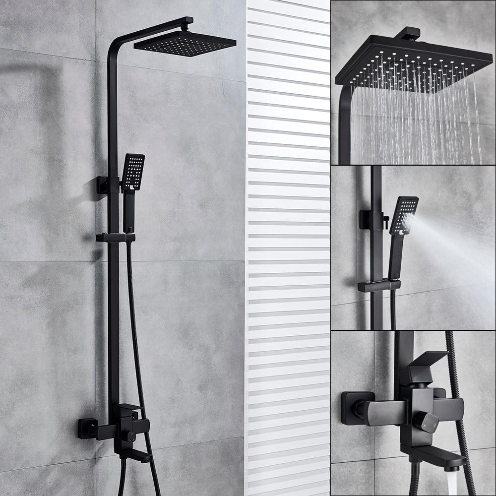 TecTake Set doccia da incasso completo con soffione a pioggia doccino miscelatore moderni