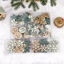 2020 New Year Christmas decorations wood Coloured drawing Hollowing out DIY tree gadgets 24 pieces small wooden sign