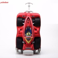 18 Inch Kids Cars School Bag with Wheels Wheeled Luggage 3D Stereo Cartoon Children Trolly Schoolbag Suitcase Gift Boarding Box