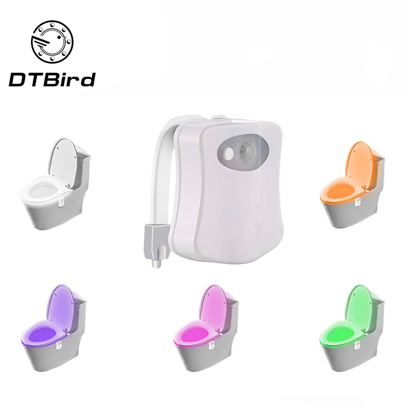 8-color New Toilet Induction Lamp Hanging Human Toilet Induction Toilet Cover Lamp Creative LED Night Light