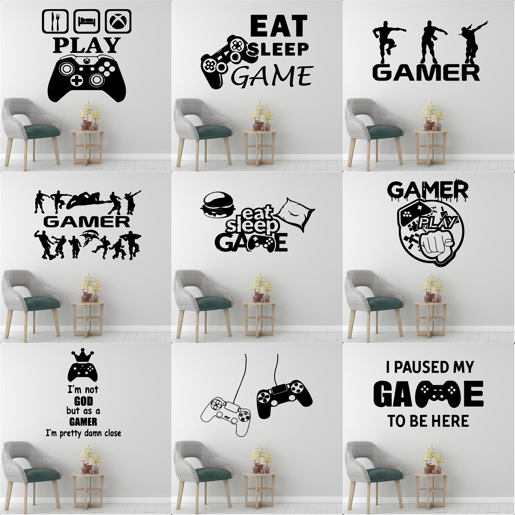 Gamer Vinyl Wall Sticker For Kids Rooms Decoration decal Poster boys Gaming PS4 Battle Royale Xbox Game Stickers Mural Wallpaper image