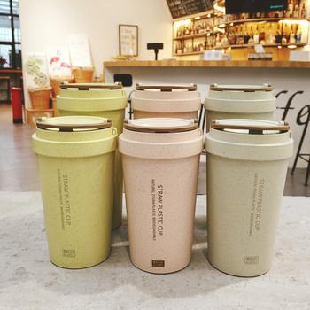 400ml 500ml kubki do kawy dwuścienne pszeniczne słomiane kubki do kawy kubki na herbatę duży kubek podróżny kubek kempingowy filiżanka kawy z pokrywką rękaw na kubek tanie i dobre opinie CN (pochodzenie) Z tworzywa sztucznego dla dorosłych Butelki na wodę Ekologiczne Q0099 Bezpośrednie picie TOUR Nie posiada