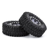 """INJORA 4PCS CNC 1.0"""" Beadlock Wheel Rims Tires Set for 1/24 RC Crawler Car Axial SCX24 AXI90081 AXI00001 AXI00002 Deadbolt 6"""