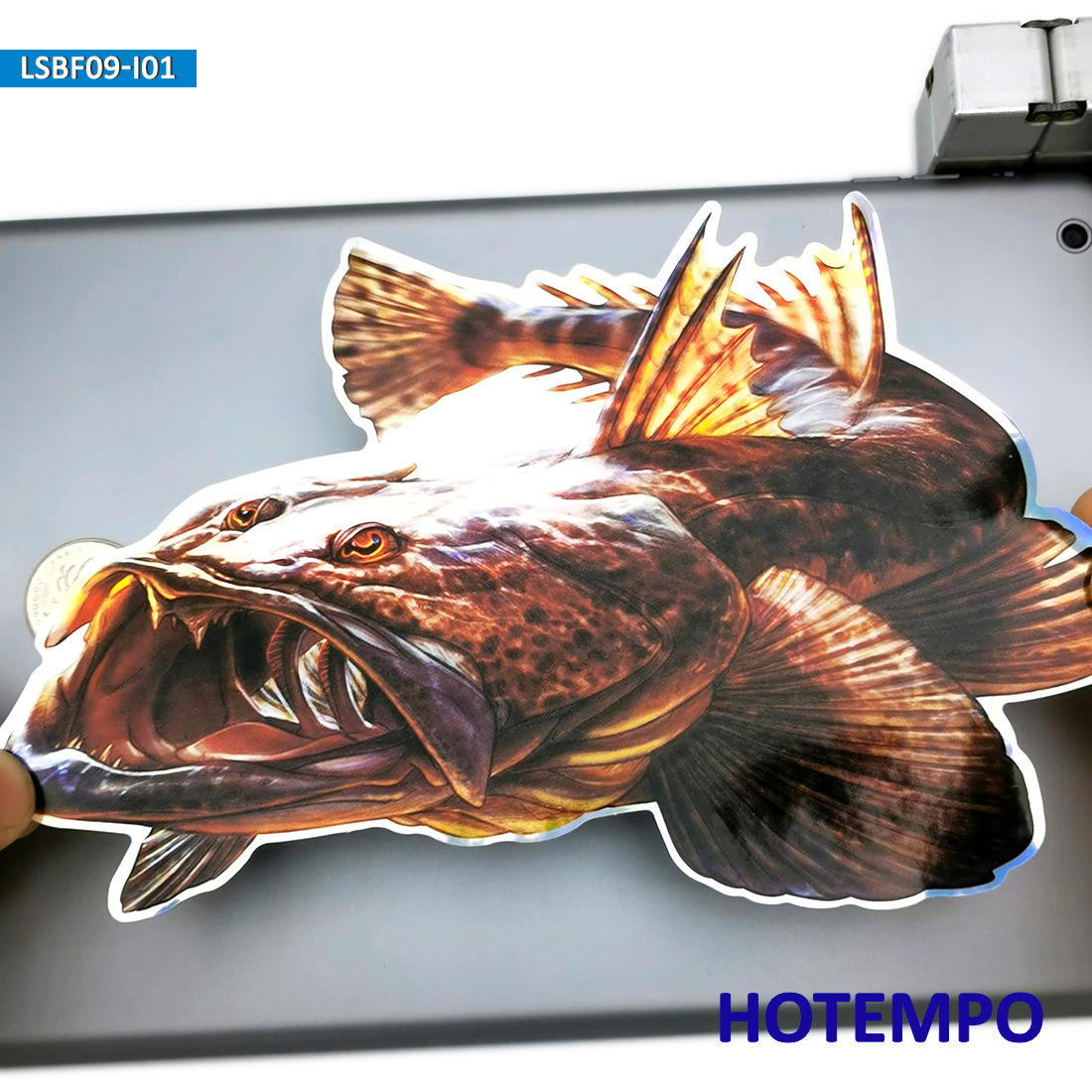 7.87inch 20cm Big Size Monkfish Laser Shining Fishing Anglerfish Outdoor Stickers For Laptop Luggage Car Glass Art Decal Sticker