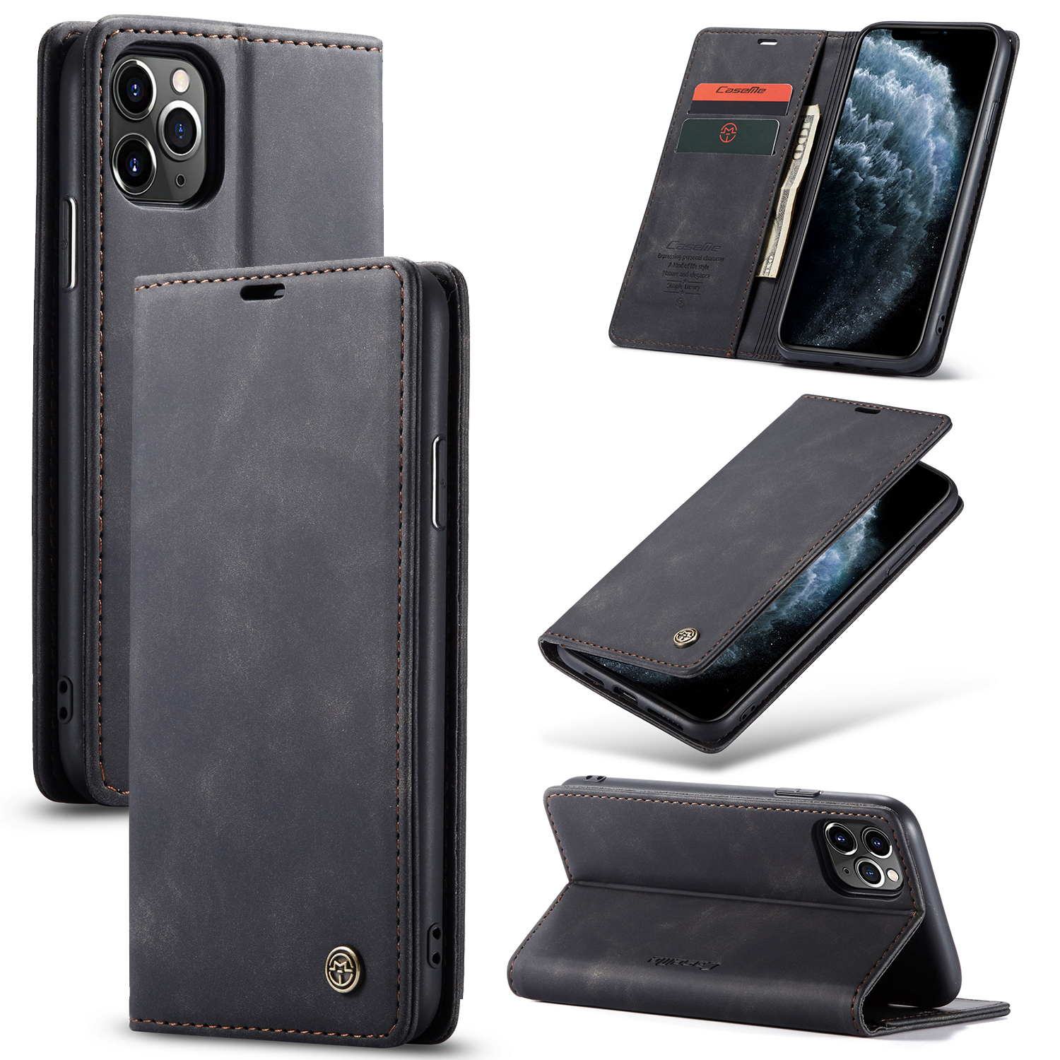 2 in <font><b>1</b></font> Phone Case For <font><b>iPhone</b></font> 6S 6 7 8 <font><b>5</b></font> 5S SE 11 X XS XR Pro Max Plus 2020 Luxury Leather Case Card Slot Wallet Flip Stand Cover image