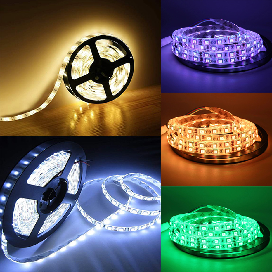 cheapest Hot Sale 5m 12V LED Strip 60LEDS M SMD5050 Waterproof Flexible DIY Indoor Lighting Accessories Waterproof LED Strips