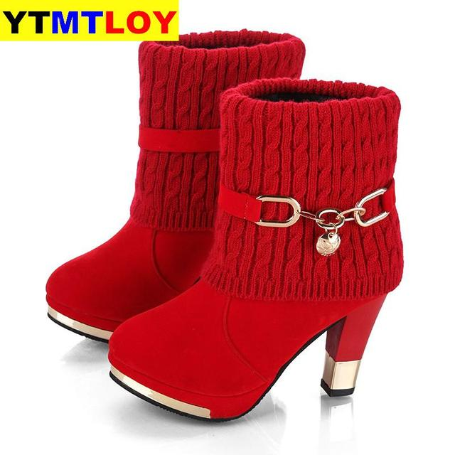 2020 winter new thick with shoes women's boots high-heeled female boots frosted wool in the 2020 boots women Women's shoes
