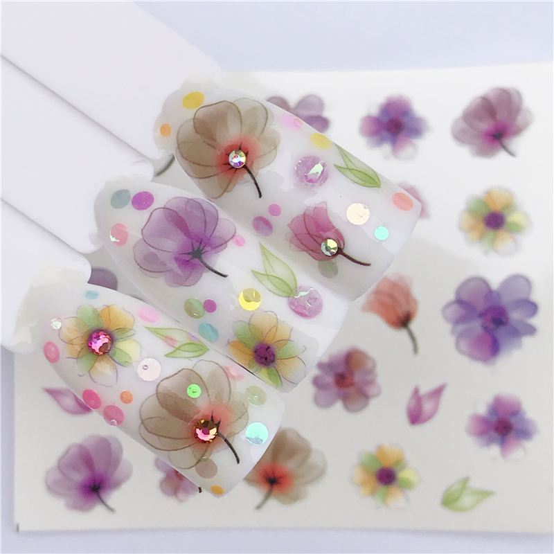 Ywk água arte do prego transferência adesivos de água decalques beleza flor unhas design manicure adesivos para unhas decorações ferramenta