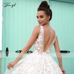 Image 4 - Traugel V Neck A Line Lace Wedding Dresses Applique Beading Tank Sleeve Backless Bride Dress Court Train Bridal Gown Plus Size
