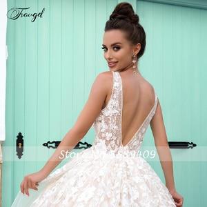 Image 4 - Traugel v 목 라인 레이스 웨딩 드레스 Applique 구슬 탱크 슬리브 Backless 신부 드레스 법원 기차 신부 가운 플러스 크기