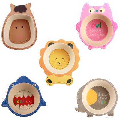 Baby Kids Natural Bamboo Fiber Bowls Cute Cartoon Animal Dishes Baby Feeding Children Tableware Infant Toddler Portable Plates
