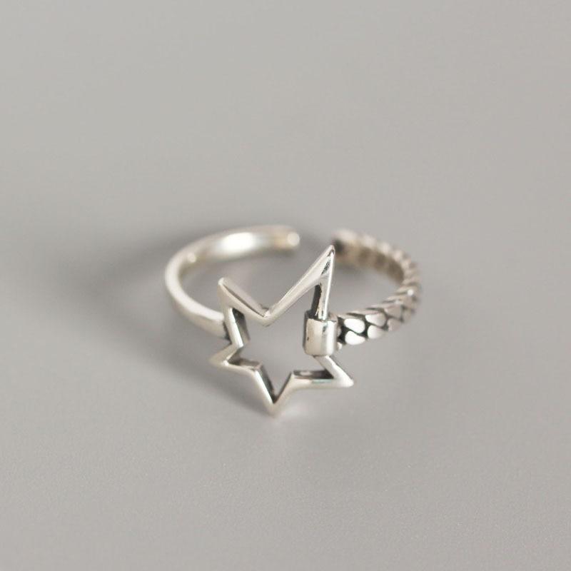 ANENJERY Vintage Unregelmäßigen Glatte Lock Kette Thai Silber Ring 925 Sterling Silber Einstellbare Größe Ring Schmuck Großhandel S-R589