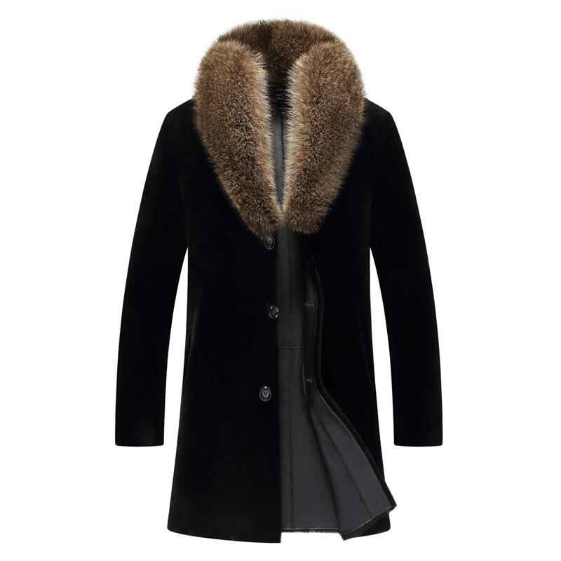 Shearling Coat Racoon-Collar Russian Genuine Winter Casual Thick Black Long Fur Natural