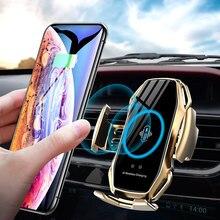 Qi 자동차 무선 충전기 아이폰 11 프로 X XR XS 최대 갤럭시 S10 S9 스마트 자동 클램핑 빠른 충전 공기 환기 전화 홀더
