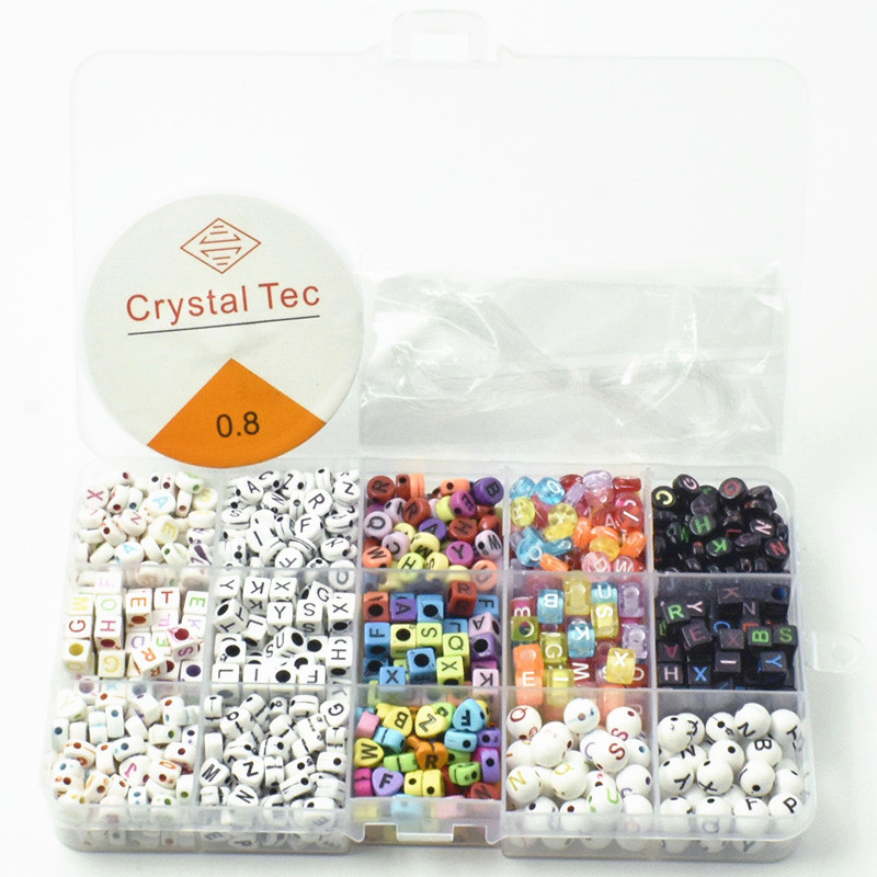 820-830Pcs Beads Acrylic Letter Beads Seed Holes Bead For Jewellery Making Charms and Beads Needlework DIY Handicrafts Bead