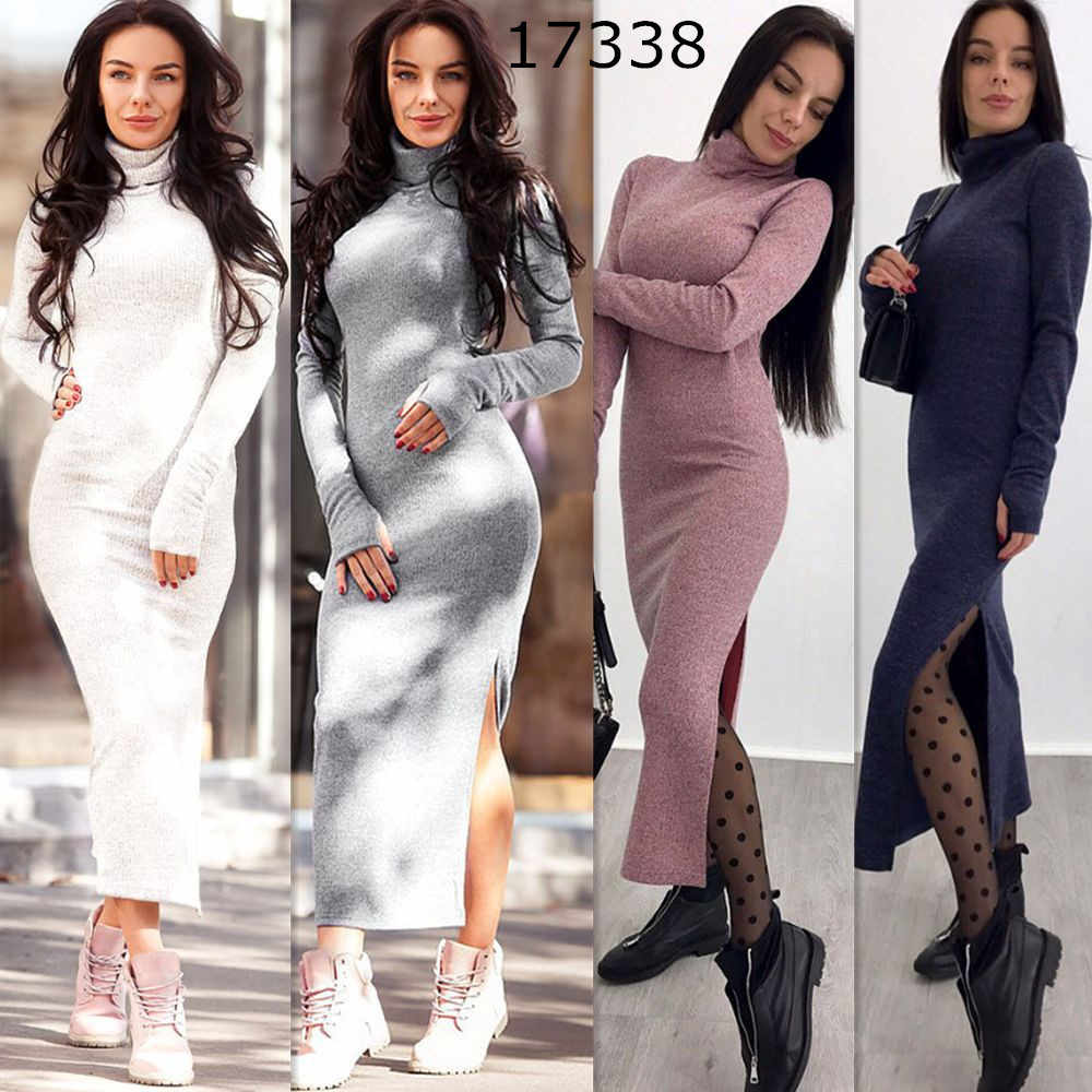 LOSSKY Turtleneck Knitted Sweater Dress Sexy Split Long Sleeve Women's Autumn Winter Slim Solid Maxi Dresses Bodycon Long Dress