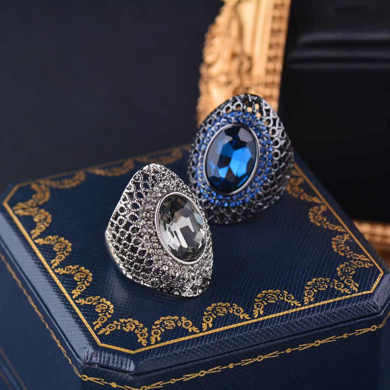 Sinleery Luxe Vintage Grijs Cubic Zirkoon Hollow Grote Ringen Voor Vrouwen Bruiloft Engagement Verjaardag Antiek Zilver Kleur Jz529