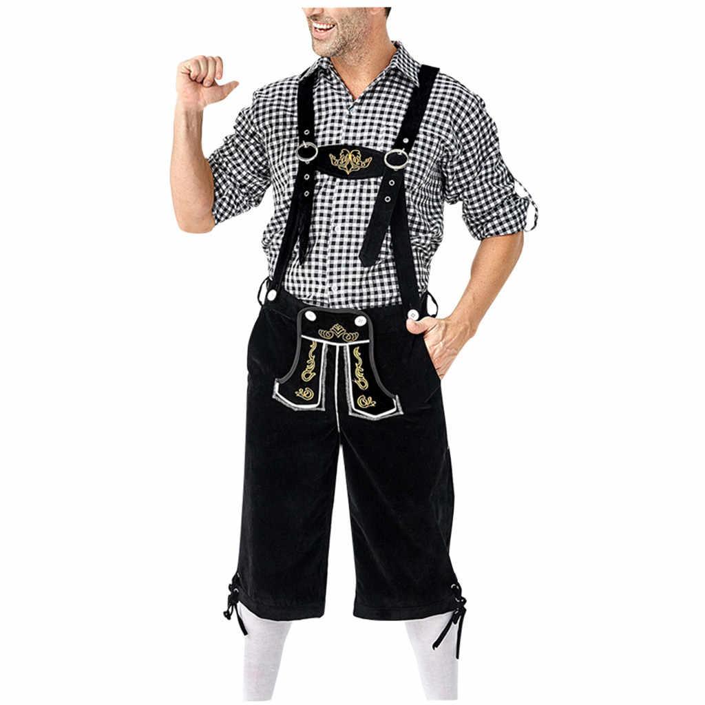 Mannelijke Oktoberfest Lederhosen Kostuum Beierse Octoberfest Duits Bier Kostuum Bretels Shorts Heren Halloween Cosplay Outfit
