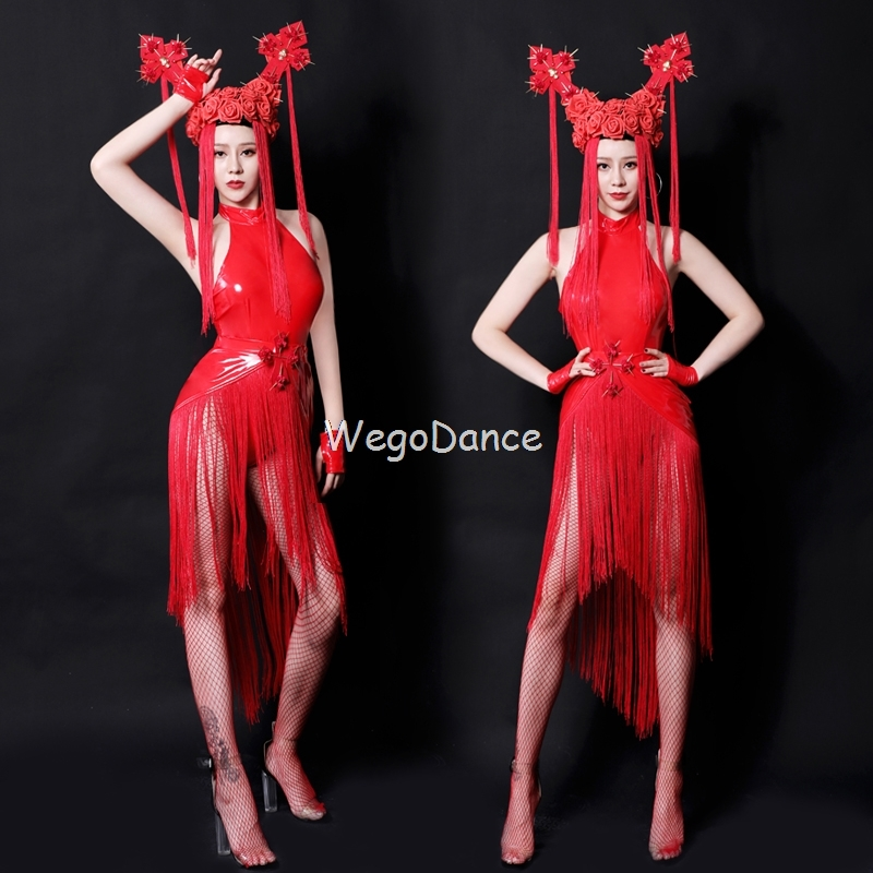 New Dj Ds Costumes Sexy Nightclub Singer Lead Dancer Clothing Red Tassel Bodysuit Women Sleeveless Short Leotard Round Collar