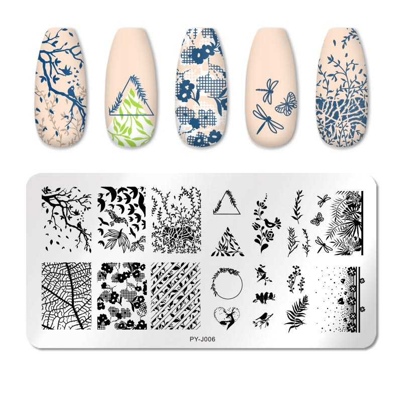 PICT YOU 12*6cm Nail Art Templates Stamping Plate Design Flower Animal Glass Temperature Lace Stamp Templates Plates Image 40