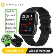 النسخة العالمية Amazfit GTS ساعة ذكية 5ATM السباحة مقاوم للماء Smartwatch 14 أيام بطارية تحكم بالموسيقى للهاتف IOS