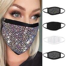Rhinestones-Mask Night-Club Hollow-Out Luxury Mouth-Face-Veil Glitter Diamond Women Mesh