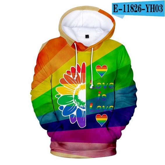 Colorful Rainbow LGBT Hoodies Sweatshirt Men Women For Lesbian Gay Pride LGBT Hoodie Fashion Casual Pullover Hooded Sweatshirts 25