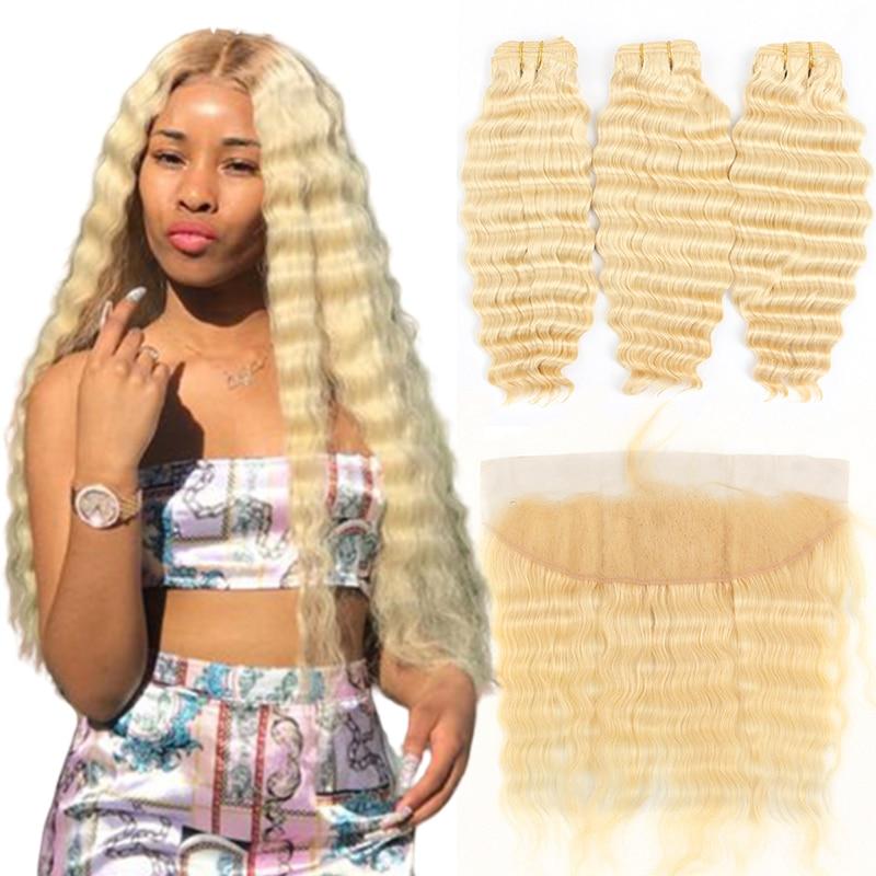 613 Honey Blonde Human Hair Weave 3 Bundles With Closure Brazilian Deep Wave Hair Extensions Golden Natural Remy Hair 4pcs/lot