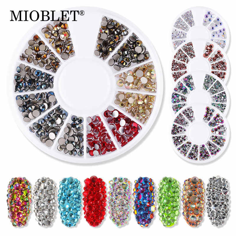 Top Quality Mixed Size Glass 3D Nail Stones AB Crystal Nail Rhinestones Rainbow Gem DIY Nail Art Decoration In Wheel Accessories