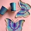 С днем рождения, красочные DIY искусственная Орхидея Бабочка посуда бумажные тарелки и стаканы Свадебные поставка украшений для вечеринок