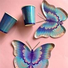 Feliz aniversário colorido diy borboleta talheres pratos de papel copos festa de casamento decoração fornecimento
