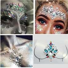 Adesivo de glitter para rosto, adesivo de vidro para strass, joias para o corpo, festivais, faciais, apliques de maquiagem