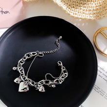 2019 Vintage Elegant Heart Human Face Silver Coin Chain Round Bracelet Metal Hand Jewelry Irregular Beads Bangle for Women