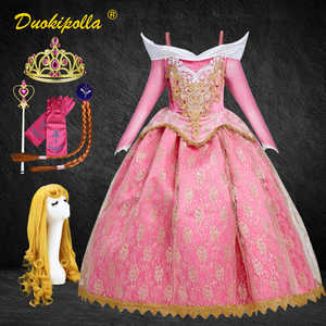 Sleeping Beauty Halloween Carnival Costume Child Lace Girls Princess Aurora Dress Pink Embroidery infant Party Dress Wig Hair
