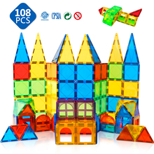 108PCS 3D Magnetic Tiles Building Blocks Magnet Constructor Brick Sets Educational Toys for Children Gifts Magnets Toys