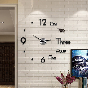 DIY Clock Acrylic Digital Wall Clock 3D Stereoscopic Silent Electronic Clock Modern Design Digital Self-Adhesive Art Decal Clock 1