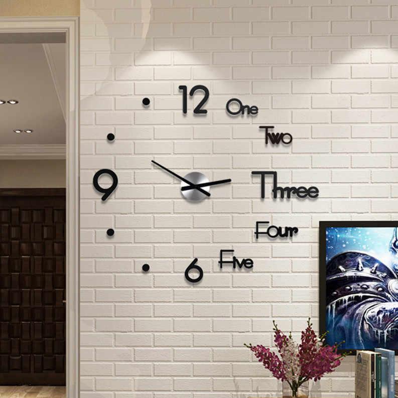Diy時計アクリルデジタル壁時計 3D立体サイレント電子時計モダンなデザインのデジタル自己粘着アートデカール時計
