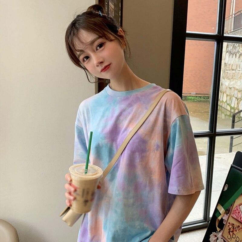 Woman Tie Dye Harajuku Funny Tshirt Summer Poleras Mujer De Moda 2019 Hip Hop Tees Shirts Korean Tops Fashion T-shirt