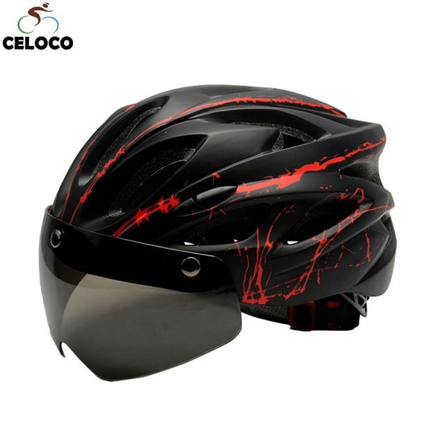 2019nova preto óculos de proteção capacete da bicicleta padrão ultraleve capacete equitação montanha estrada integralmente moldado ciclismo capacetes 1